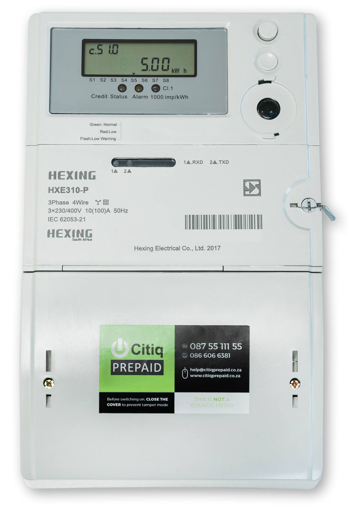 Hexing Three Phase Split Meter HXE 310 P 1 - Citiq Prepaid