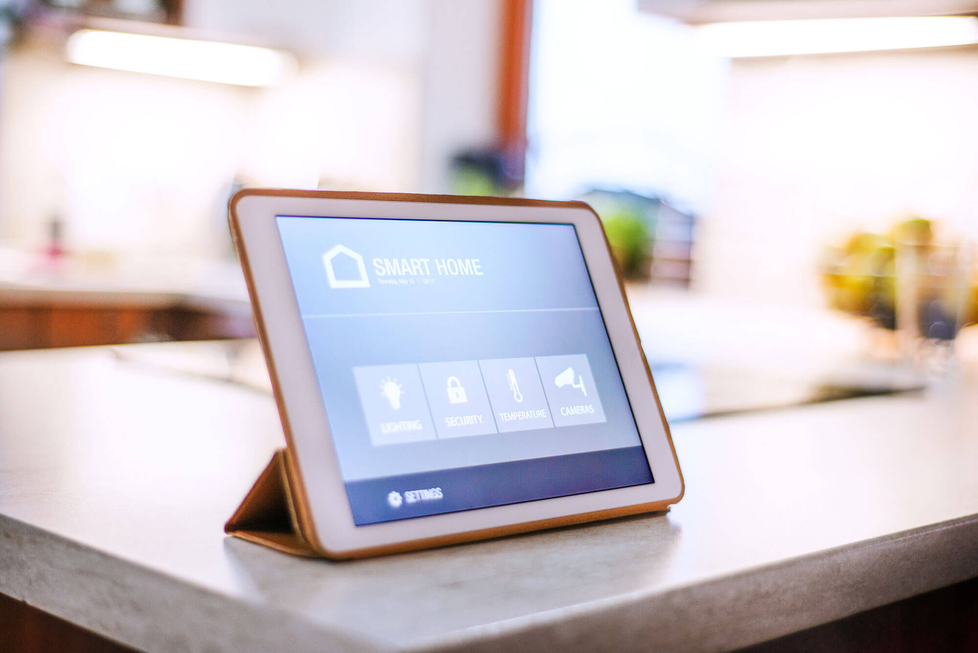 a tablet with smart home screen P3VS3CZ - Smart-home insurance solutions…the future is here